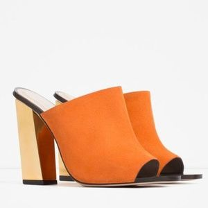 Zara Orange Suede Gold Heel Mules